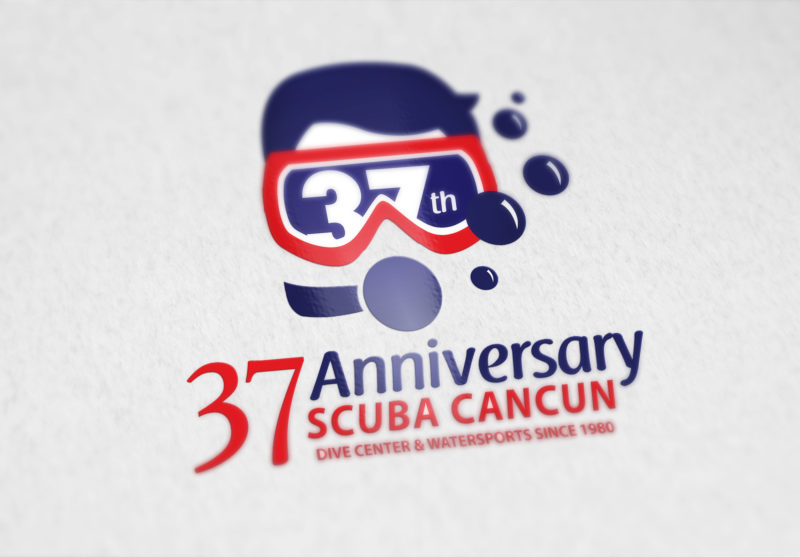 Scuba Cancún logotipo conmemorativo